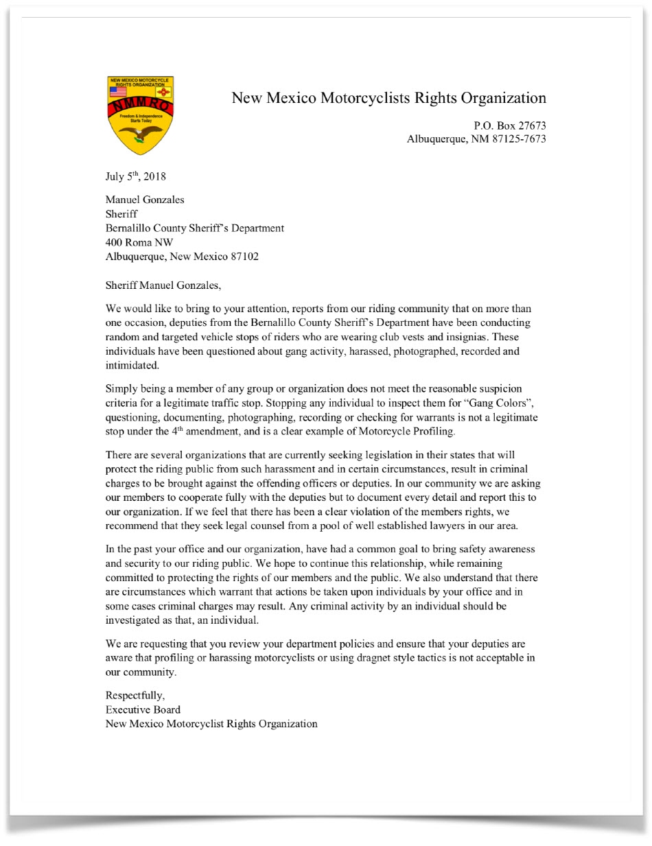 NMMRO Letter to Bernalillo County Sheriff's Department