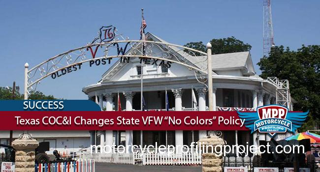 Texas Bikers Stop VFW's No MC Colors Policy